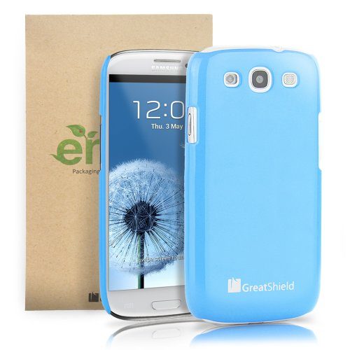GreatShield Guardian UV Glossy Series Slim Fit Snap On Hard Protector Case for Samsung Galaxy S3 S III - Blue