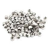 100Pcs Silver Tone Metal 6.7mm Female Thread Screw Nuts