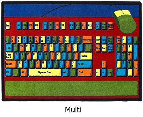 "Computer Keyboard Basics Premium Cut Pile Stainmaster Nylon Area Rug (5'4""X7'8"", Multi) front-981934"