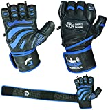 Grip Power Pads Elite Leather Gym Gloves with Built-in 2