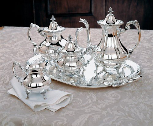 Reed & Barton Sheffield Collection Silver-Plated Burgundy 5-Piece Tea Set