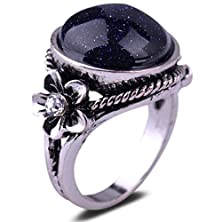 buy Yazilind Vintage Round Cut Blue Lapis Lazuli Silver Plated Flower 8 Ring Women