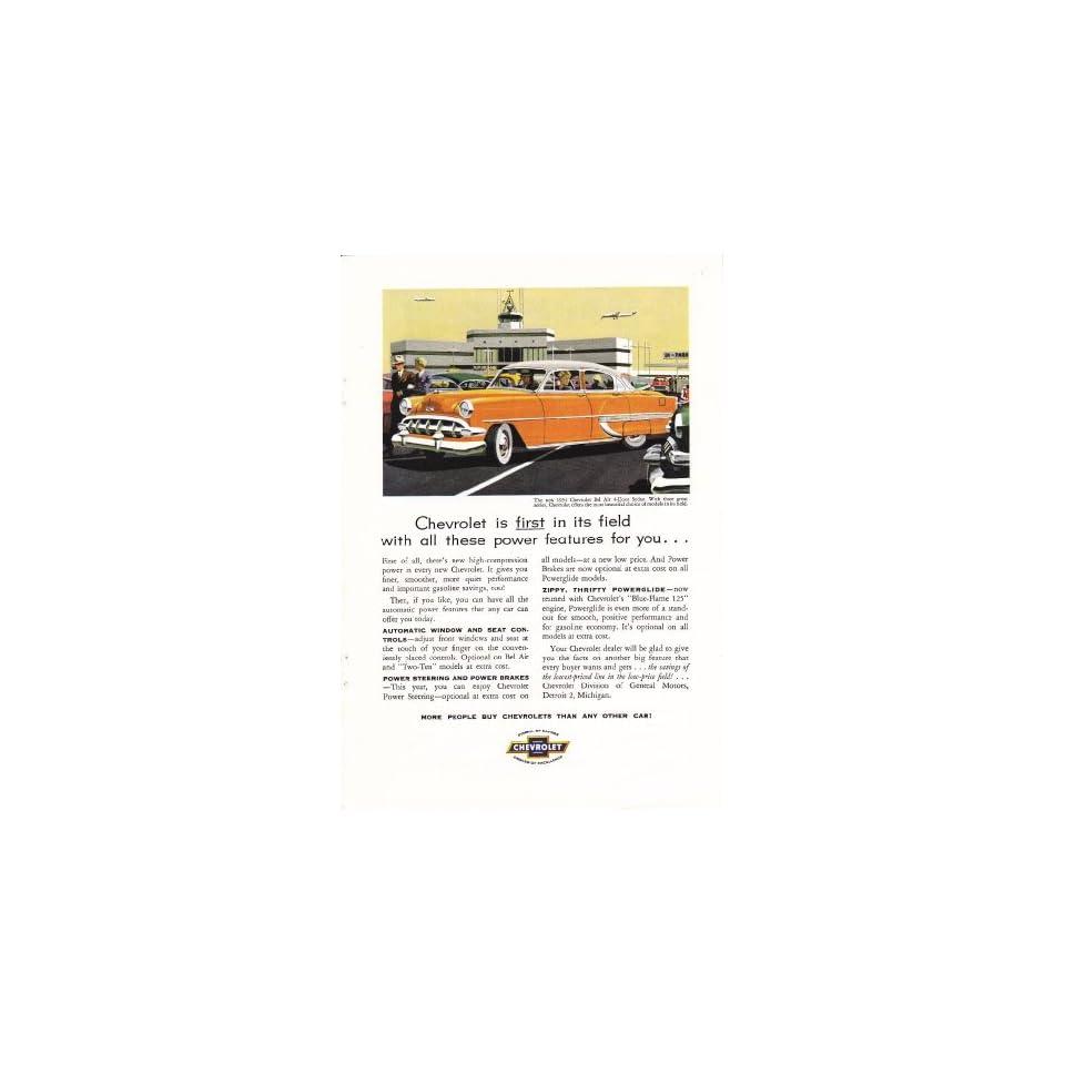 1954 Ad Orange Chevy Bel Air 4dr Sedan Chevrolet Original Car Ad