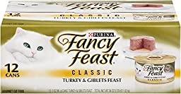 Fancy Feast Wet Cat Food, Classic, Turkey & Giblets Feast (Pack of 2), 3-Ounce Can, Pack of 12