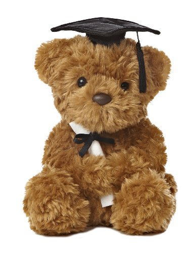 Aurora World Graduation Bear Plush, Black Cap, 8.5""