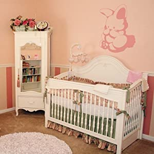 "Super Jumbo 35"" x 27"" Adorable Pink Bunny Wall Applique Decal"