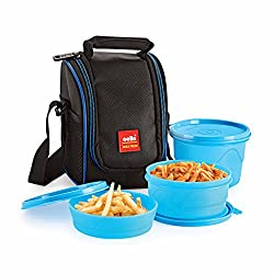 Cello Max Fresh Super Polypropylene Lunch Box Set, 3-Pieces, Blue