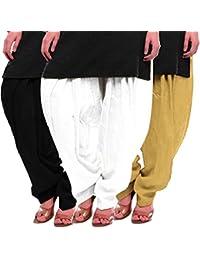 Women's Black White-Beige Cotton Patiala Salwar