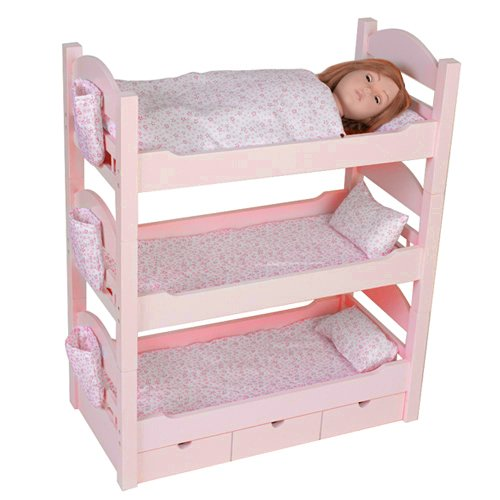 "Details about Triple Bunk Beds Trundle★Sleeps 4★18"" Dolls Our ..."