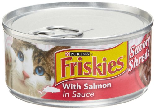 Friskies Cat Food Savory Shreds with Salmon in Sauce, 5.5-Ounce Cans (Pack of 24)