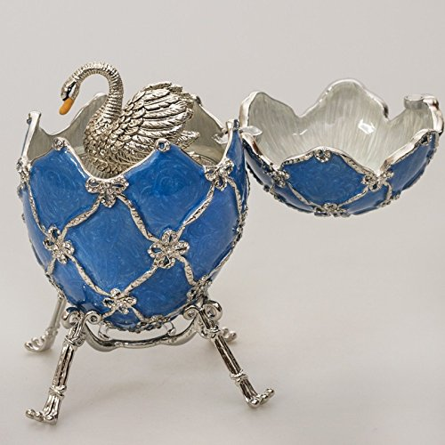 Swarovski Crystals Swan Blue Gold Plated Faberge Style Egg Musical Figurine Limited Edition Collectible Faberge Reproduction