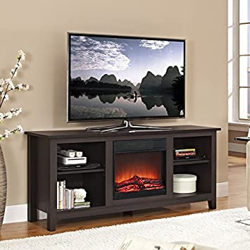 58 in. TV Stand with Fireplace Insert in Espresso Finish