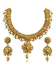 Traditional South INDIA Bollywood Bridal Ethnic Intricate Design Necklace Set- Golden