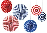 Amscan Fourth of July Party Stars & Stripes Hanging Fan Decoration (6 Piece), Red/White/Blue, 13 x 11""