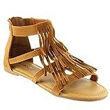 BAMBOO DINO-71S Women's Closed Back Multi Straps Flat Fringe Sandals, Color:CHESTNUT, Size:8