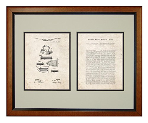 "Electric Flat Iron Patent Art Old Look Print In A Honey Glazed Wood Frame (16"" X 20"")"