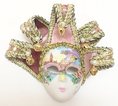 Light Pink Jollini Miniature Ceramic Venetian Mask