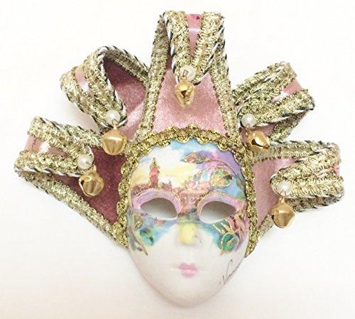 Light Pink Jollini Miniature Ceramic Venetian Mask