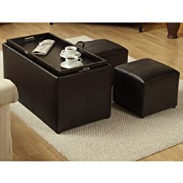 Product Image Sheridan Espresso Leather 3PC Double Storage Ottoman with Tray Plus 2 Side Ottomans