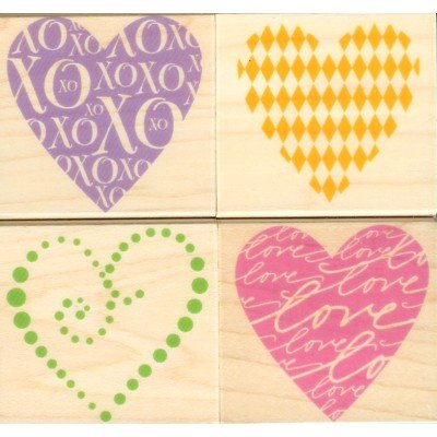 Artistic Hearts Wood Mounted Rubber Stamp Set (LL080)
