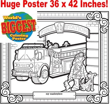 Just For Laughs World's Biggest Coloring Posters- Fire Truck - 1