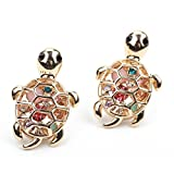 Zealmer 14k Gold Plated Girls Turtle Earrings with Sapphire Cubic Zirconia CZ Diamond Earring Studs