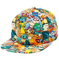 Pokemon All Over Sublimated Print Pikachu Adjustable Snapback Hat Cap