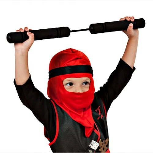 "Childs Polyester Ninja Hoods Dress up Play Costume 14"" RED or Black"