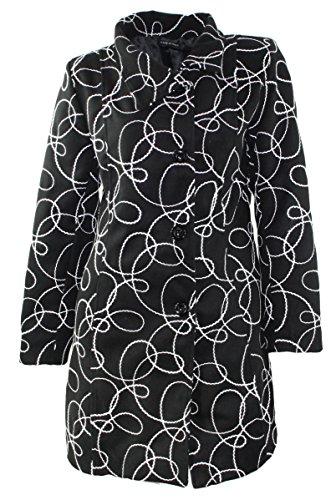 #1165 Damen Designer Jacke Mantel Patchwork Schwarz-Weiss 38 40 42 44 46 (46)