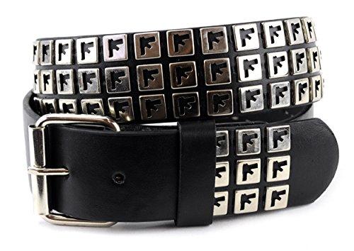 NYfashion101 Pistol Shape Snap On Stud Removable Roller Buckle Faux Leather Belt L