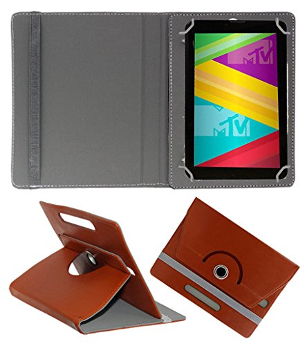 Acm Rotating 360° Leather Flip Case For Swipe Mtv Slash 4x Tablet Cover Stand Brown  available at amazon for Rs.149