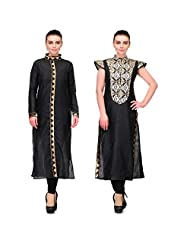 Cenizas Women's Raw Silk Black Kurtas Pack Of 2 ( 9075BLK & 9060BLK)