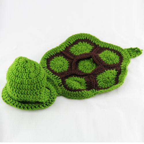 Leegoal Baby Turtle Crochet Cotton Knit Costume Photo Prop 0-6mon Green