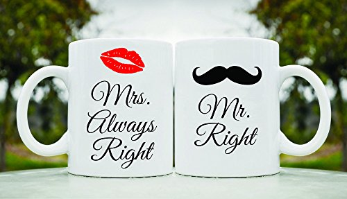 Mrs. Always Right And Mr. Right His And Hers Set 11Oz Ceramic Coffee Mug Cup