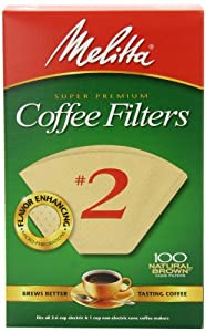 Melitta Cone Coffee Filters, Natural Brown, No. 2, 100-Count Filters (Pack of 6) by Melitta