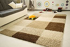 """Shaggy Rug Funny Design Circles Beige Brown Soft Thick Non Shedding High Pile, Size 80x150 cm (2'7""""x5'0"""") by Steffensmeier"""