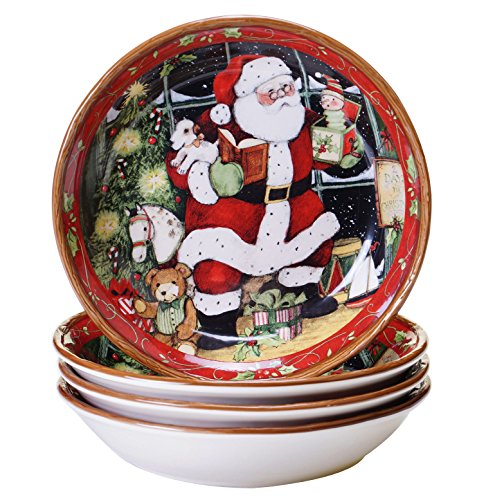Certified International Santa's Workshop Soup/Pasta Bowls (Set of 4), 8.5 x 1.75