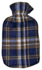 Warm Tradition Brown Blue Plaid Fleece Covered Hot Water Bottle, Bottle made in Germany, Cover made in USA