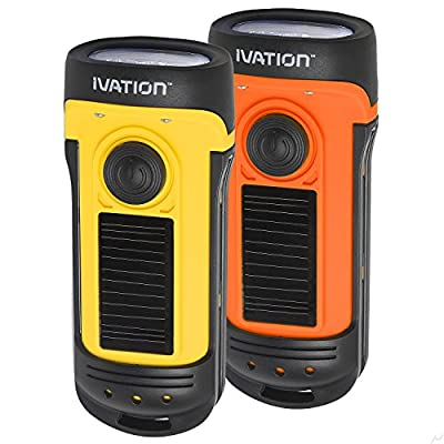 Ivation Waterproof Rechargeable Flashlight, Charges via Solar & Hand Cranking, 3 Lighting Modes