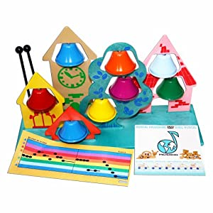 CLOCHES MUSICALES : Village 8 Cloches accordées + Baguettes + DVD + comptines -Fab. Alpes