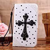 Incore Creative LG Optimus ii L5 E610 E612 Jewelry Bling Diamond Gem Leather Smart Case Cover With Magnetic Flip Horizontals & Card Holder // Black Cross