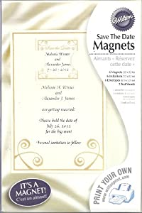 Wilton Save The Date Magnet Announcements #3302-5517 Gold Swirl, Pack of 6