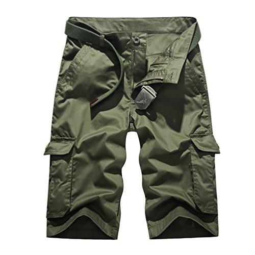 CeRui Bermuda Militari Pantaloni Uomo Con Tasconi Pantaloni Corti Cargo Pantaloni Corti Militari Uomo Taglia 33 Army Green