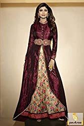 Gayatri Enterprise Bollywood style Shilpa Shetty Banglori Silk Party Wear Anarkali Suit in Maroon And Beige Colour