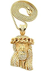 "Cuban Crown Stone Stud Jesus Head Pendant 3mm 30"" Box Chain Necklace in Gold-Tone"