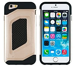 iPhone 6 Case, DandyCase 2in1 Hybrid 2-Piece CARBON FIBER TRIM Full-Phone Protection Case Cover for Apple iPhone 6 (4.7