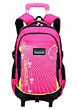Coofit Rolling Backpack for Girls Kids School Backpack with Wheels 6 Wheels Pink