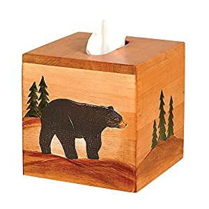 Wood black bear square rustic tissue box for Home decorations amazon