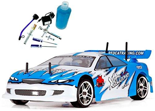 Redcat Racing Gold Combo – Lightning STR Nitro Car, Blue, 1/10 Scale – PLUS – Redcat Racing 80142A Nitro R/C Starter Kit