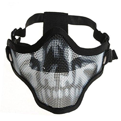 tinksky sport demi masque visage masque de protection en m tal avec bandeau r glable noir. Black Bedroom Furniture Sets. Home Design Ideas